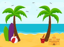 Beach with palms with place for text, summer concept Royalty Free Stock Photo