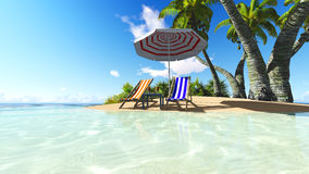 Beach and palms recliner blue sky 3D rendering. Beach and palms recliner blue sky and clouds 3D rendering Stock Photos
