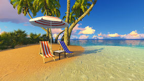 Beach and palms recliner blue sky 3D rendering. Beach and palms recliner blue sky and clouds 3D rendering Royalty Free Stock Photos