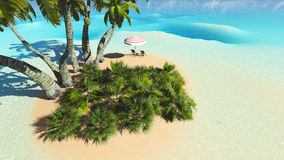 Beach and palms recliner blue sky 3D rendering. Beach and palms recliner blue sky and clouds 3D rendering Royalty Free Stock Image