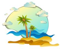 Beach with palms, sea waves perfect seascape,   summer beach holidays theme paper cut style vector illustration. Beach with palms, sea waves perfect seascape vector illustration