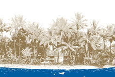 Beach with palms. Vector royalty free illustration