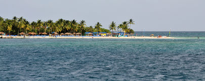 Beach at Palomino. The white sand beach of Palomino from an approaching ship Royalty Free Stock Photography