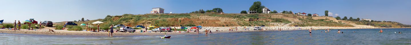 Beach panorama. From the Black Sea shore,Eforie Sud city,Romania Stock Photos