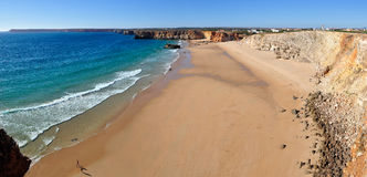 Beach Panorama. High view of Sagres beach in Algarve, Portugal Royalty Free Stock Photography