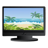 Beach panorama background. Wide screen monitor with tropical beach panorama as background Royalty Free Stock Photography