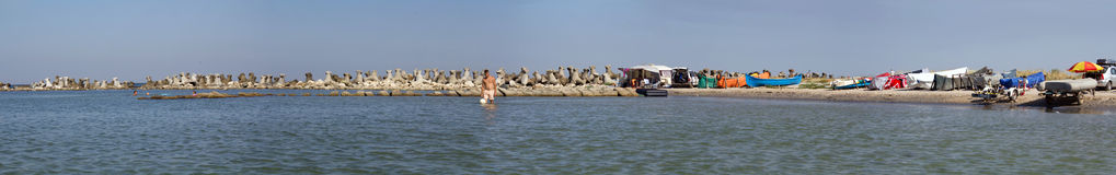 Beach panorama. From the Black Sea shore,Eforie Sud city,Romania Royalty Free Stock Photos