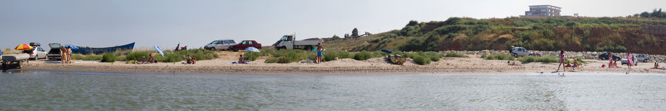 Beach panorama. From the Black Sea shore,Eforie Sud city,Romania Stock Photography