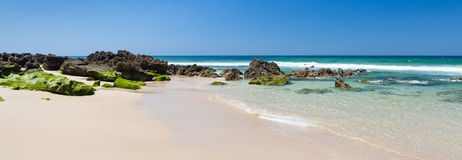 Beach panorama with rocks Royalty Free Stock Photo