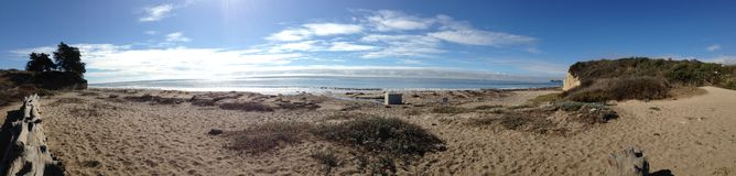Beach Panorama. Of the soft sands and open oceans in Santa Barbara, CA Royalty Free Stock Images