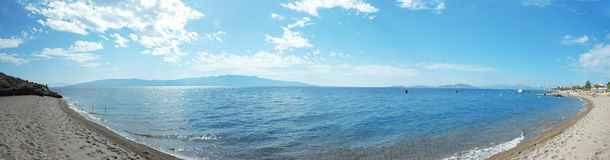 Beach Panorama. Wide angle beach panorama photo from Bodrum Royalty Free Stock Photos
