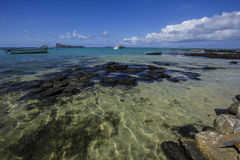 Beach panoramic view of Cap Malheureux with Coin de Mire in the distance- Mauritius Stock Photos