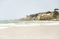 Beach. Panoramic view at cliffs in Portugal Royalty Free Stock Image