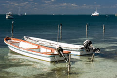 Beach Paradise. A Fishing Boat on the beach at Isla Mujeres, Mexico Royalty Free Stock Photography