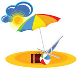 Beach paradise with beach stuff cartoon vector illustration Stock Photography