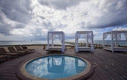 Beach Paradise With Cabanas Stock Photos