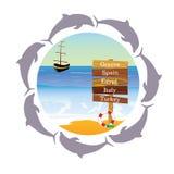 Beach paradise with dolphin vector illustration. Beach paradise with dolphin vector stock illustration