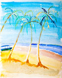 Beach paradise painting. Beach paradise water colour painting by Kay Gale Stock Photos