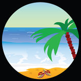 Beach paradise with sea star vector illustration Royalty Free Stock Images