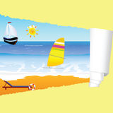 Beach paradise with tearing paper vector illustration Royalty Free Stock Photography
