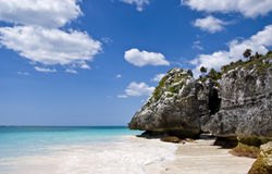 Beach Paradise in Tulum Mexico. A gorgeous beach in Tulum, Mexico. Turquoise water and deep blue sky Royalty Free Stock Image
