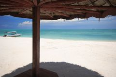 Beach parasol. Tropical Beach View from under a parasol Royalty Free Stock Images