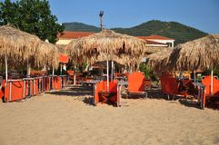 Beach with parasol Stock Image