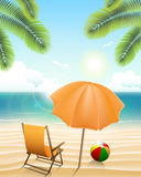 Beach with parasol, chair, ball and palm trees Royalty Free Stock Image