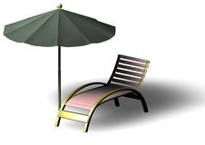 Beach Parasol and Deckchair Royalty Free Stock Photography