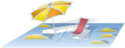 Beach with parasol and sunbed cutted and folded from paper Stock Photo