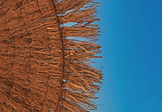 Beach Parasol,Umbrella, Hot in the Shade. Close up thatched beach parasol umbrellal blue sky Stock Photo
