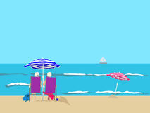 Beach-parasols Royalty Free Stock Photography