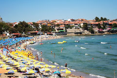 Beach. With parasols and deck chairs on the banks of the resort town, Bulgaria, Sozopol Royalty Free Stock Images