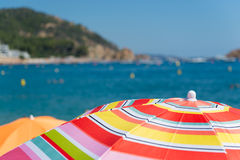 Beach with parasols Royalty Free Stock Images