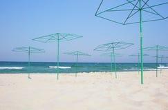 Beach parasols after season Royalty Free Stock Photos
