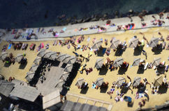 Beach parasols, Sun umbrellas from a height, top view royalty free stock photos