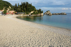 On the beach in Parga town. royalty free stock photography