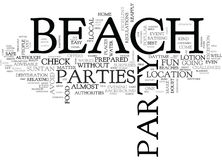 Beach Parties Word Cloud. BEACH PARTIES TEXT WORD CLOUD CONCEPT Stock Photography