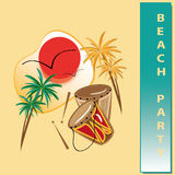 Beach party. Party invitation wich palm and sun Stock Images