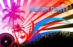 Beach Party. Background with palm and key notes Royalty Free Stock Image