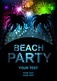 Beach party. Summer beach party vector flyer. salute- vector isolated on black background Stock Photo