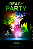 Beach party. Summer beach party vector flyer. salute- vector isolated on black background Royalty Free Stock Photos