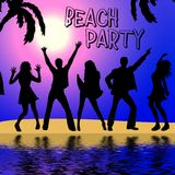 Beach party. Illustration of dancing people  - on the beach Stock Photo