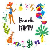 Beach party background for the card or invitation. Vector illustration stock illustration