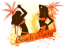 Beach party background with two dancing girls. Beach party grunge background with two dancing girls, palm trees and frangipani flowers Royalty Free Stock Photo