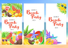 Beach party banners. With colorful summer time icons. Fresh tropical fruits and cocktails in vertical composition. Welcome to Beach party flayer template Stock Images