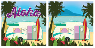 Beach Party Camper. Poster Retro Vector stock illustration
