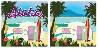 Beach Party Camper. Poster Retro Vector Stock Image