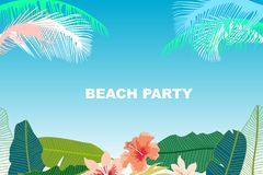 Beach Party card. Retro design with  palm leaves, tropical fowers and pink flamingos. Template for covers, banners, flyers, wedding invitations. On blue Stock Images