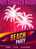 Beach Party design of flyer with place for text Royalty Free Stock Photo